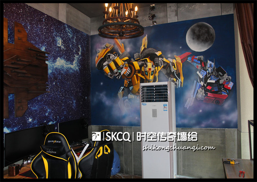 北大街变形金刚主题网咖 - 山西时空传奇墙绘壁画-官网